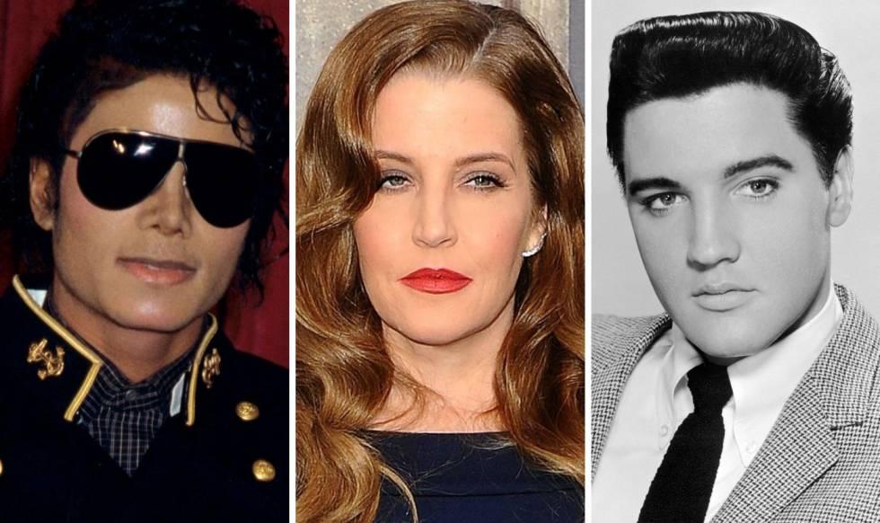 Michael Jackson, Lisa Marie Presley y Elvis Presley.