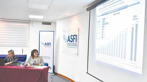 La Paz. La Directora de la Asfi presentó ayer su informe a agosto.