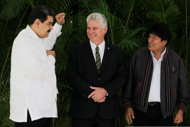 Nicolás Maduro, Miguel Díaz-Canel y Evo Morales (Reuters/Archivo)