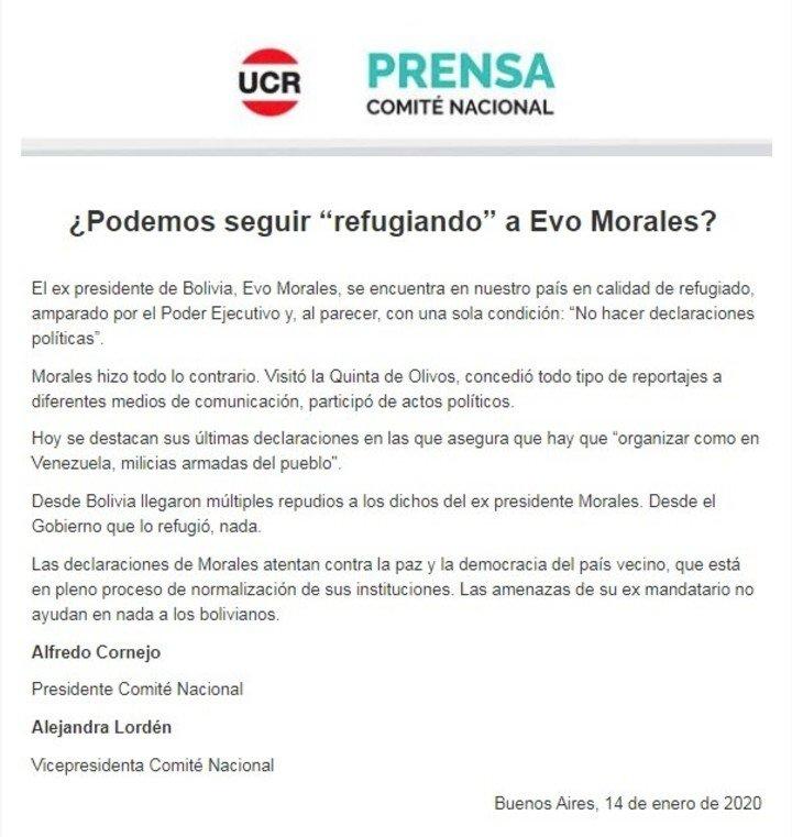 El comunicado de la UCR