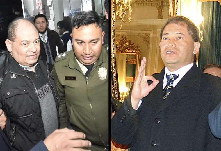 Carlos Romero juró por primera vez como ministro el 2008 (foto izq.), hoy tuvo que declarar ante la Fiscalía investigado por irregularidades en Uelicn. Fotos: ABI y APG