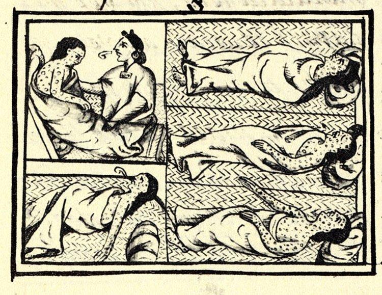 Ilustración obtenida de un compendio de materiales e información sobre la historia azteca y nahua recopilada por fray Bernardino de Sahagún. Muestra a nahuas infectados con la enfermedad de la viruela (Foto: Wikipedia)