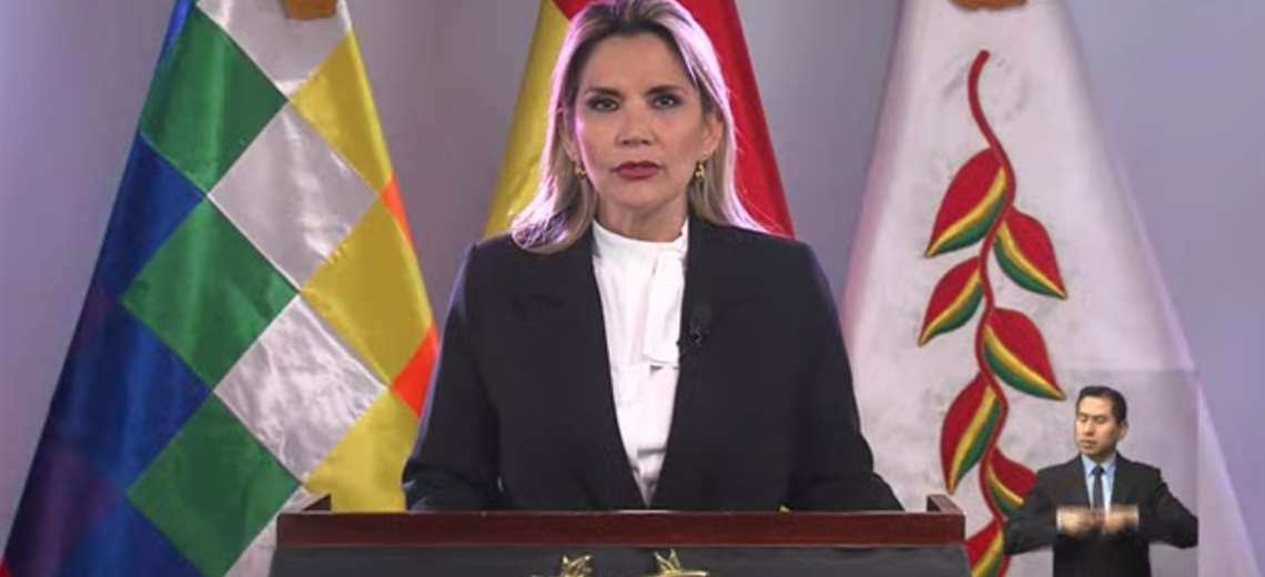 Jeanine Áñez anunció el tercer paquete de medidas contra el coronavirus en Bolivia. Foto: Imagen de TV