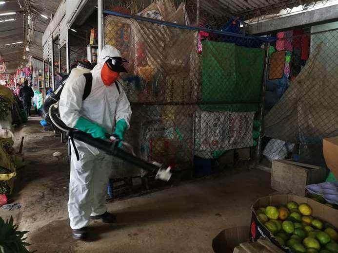 El municipio también coordina con los mercados para la limpieza y desinfección. Foto: Alcaldía de Montero
