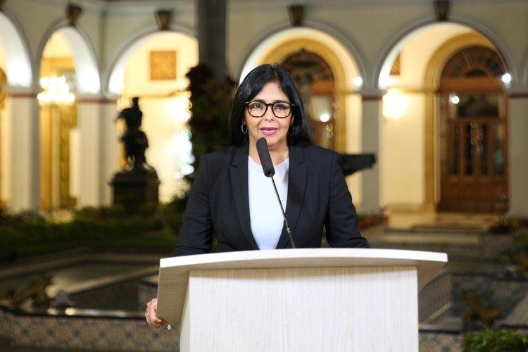 Delcy Rodríguez, vicepresidenta del régimen venezolano (Miraflores Palace/Handout via REUTERS)