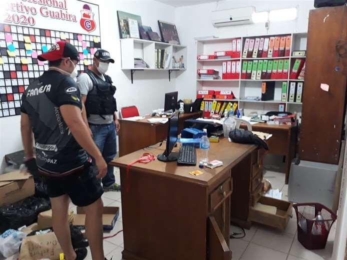 La policía de Montero comprobó el intento de robo en la secretaría del club azucarero. Foto: club Guabirá