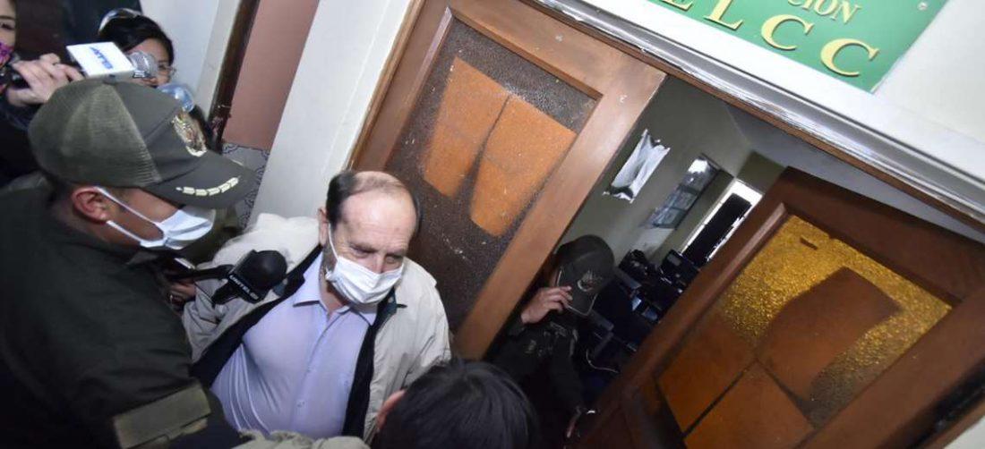 Marcelo Navajas en instalaciones de la Felcc La Paz. Foto: APG Noticias.