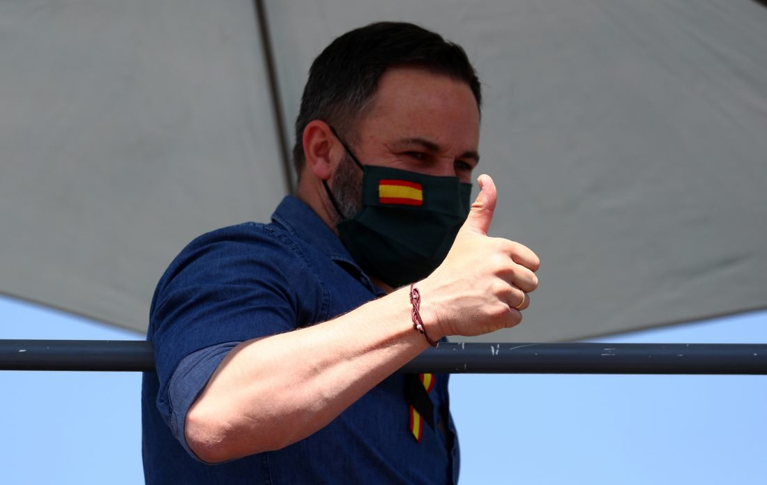 Santiago Abascal, líder de Vox, encabezó la manifestación en Madrid