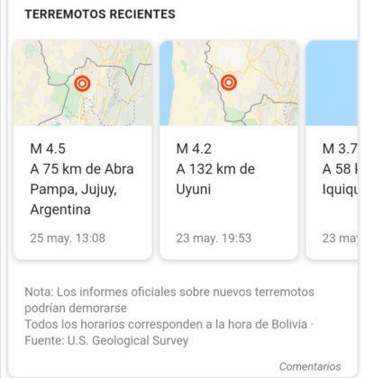 Reporte sísmico de la zona