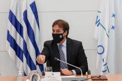 El presidente de Uruguay, Luis Lacalle Pou, preside una reunión especial del Consejo de Ministros este miércoles, en Montevideo (Uruguay). EFE/ Raúl Martínez
