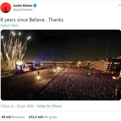La foto de Justin Bieber que no corresponde a ninguna de sus presentaciones en el emblemático lugar (Foto: Captura de pantalla)