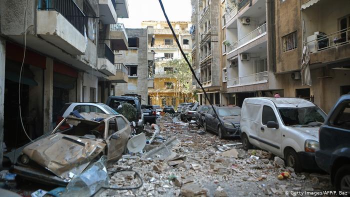 Efectos de la explosión en Beirut.