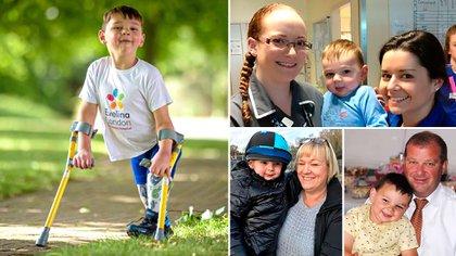 Tony Hudgell caminando con sus muletas, esas que lo hicieron famoso en el Reino Unido y sirvió para inspirar a millones. A su lado, enfermeras del Evelina London Children's Hospital y sus padres: Paula y Mark (Infobae)