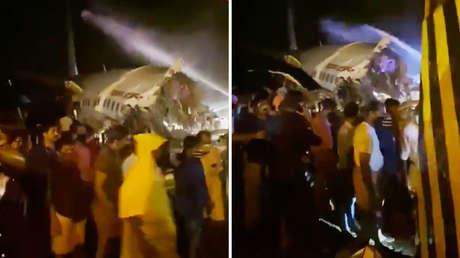 Un avión de Air India Express con unas 190 personas a bordo se parte en dos al salirse de la pista durante el aterrizaje (VIDEOS, FOTOS)