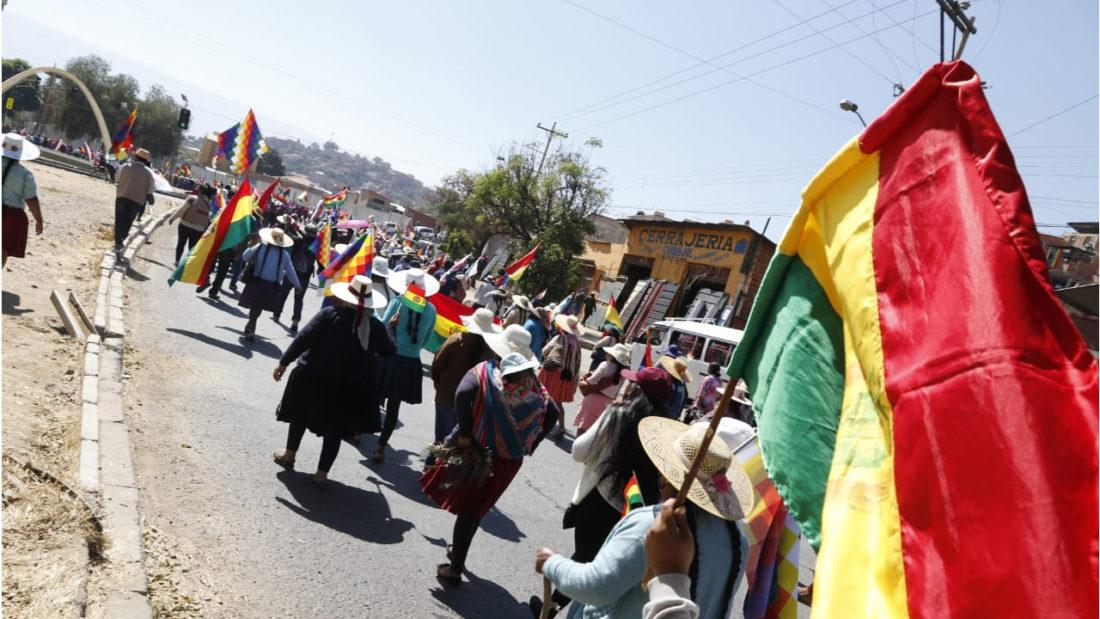 Mujeres afines al Movimiento Al Socialismo, MAS, marchan en la zona sur de Cochabamba. APG