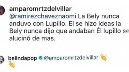 Belinda aplaudió el mensaje sobre Lupillo