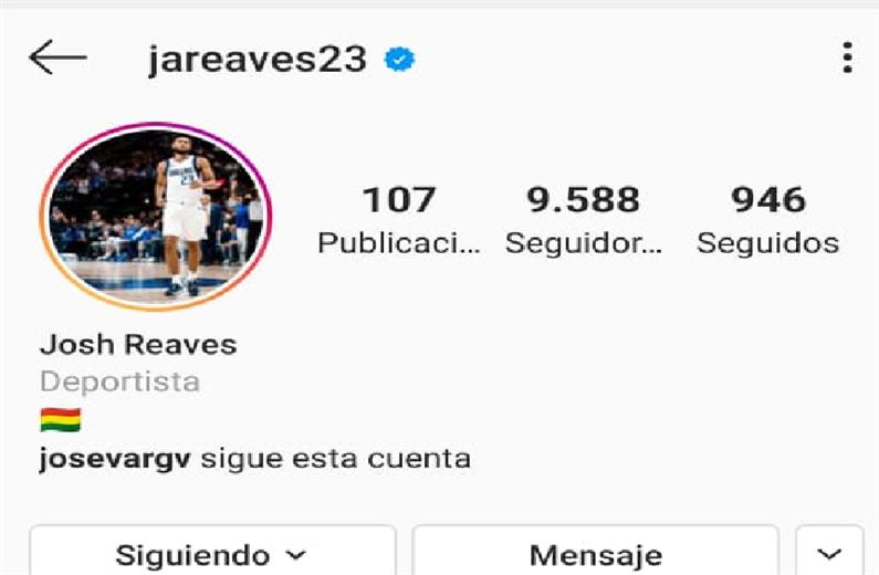 La cuenta de Instagram de Reaves con la bandera boliviana