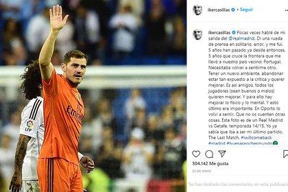 El posteo de Casillas en Instagram en mayo