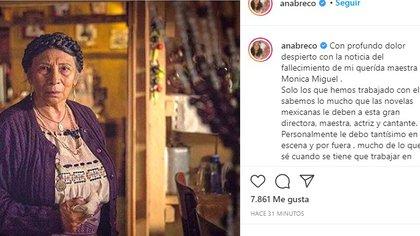 Ana Brenda Contreras se refirió a Mónica Miguel como su maestra