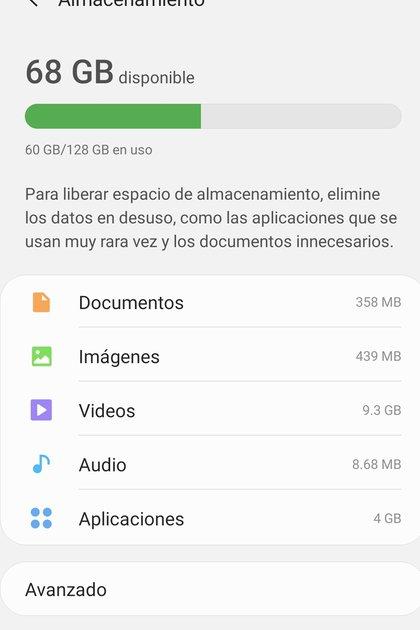 Cómo ver el almacenamiento en Android