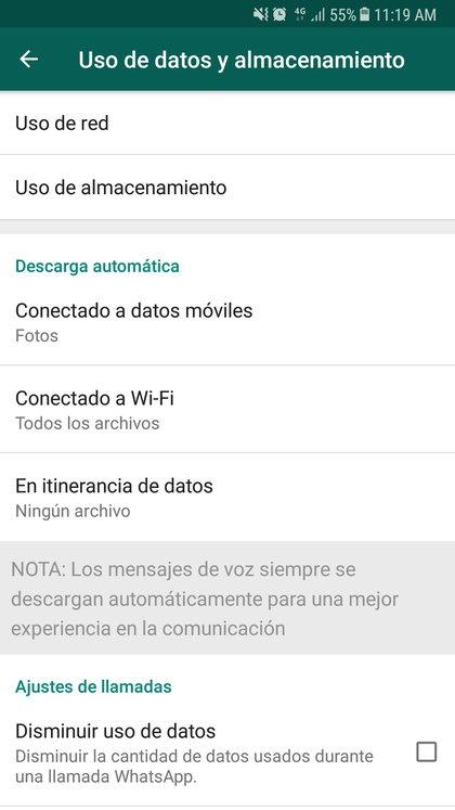 Dentro del menú de Ajustes se puede ver el consumo de almacenamiento de la app.