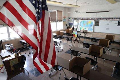 FOTO DE ARCHIVO: Un aula del colegio St. Benedict, en Montebello, cerca de Los Ángeles, California, EEUU, el 14 de julio de 2020. REUTERS/Lucy Nicholson
