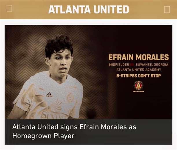 La página web del Atlanta United anunció este jueves el fichaje de Efraín Morales. Foto: internet