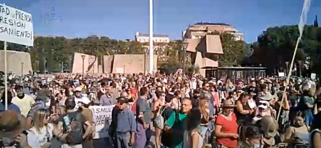 Manifestación contra las mascarillas en