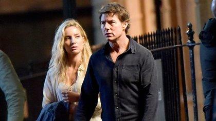 """Tom Cruise y Annabelle Wallis en el rodaje de """" The Mummy"""" en Londres (Shutterstock)"""