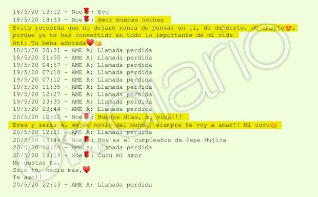 Mensajes enviados por la chica de 19 años a su presunta pareja, Evo Morales (Captura 1).