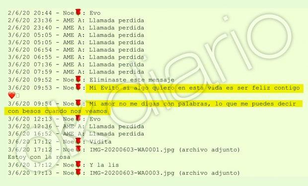 Mensajes enviados por la chica de 19 años a su presunta pareja, Evo Morales (Captura 4).