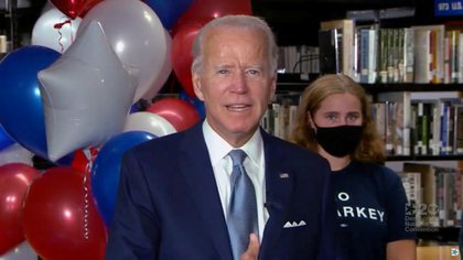Joe Biden celebrates after being formally nominated as 2020 U.S. democratic presidential candidate in convention roll call during the virtual 2020 Democratic National Convention as participants from across the country are hosted over video links from the originally planned site of the convention in Milwaukee, Wisconsin, U.S. August 18, 2020. 2020 Democratic National Convention/Pool via REUTERS