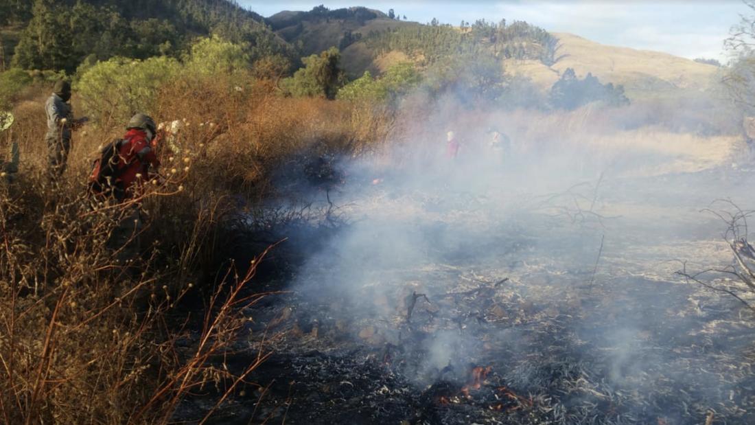 Uno de los últimos incendios en el Parque Nacional Tunari.