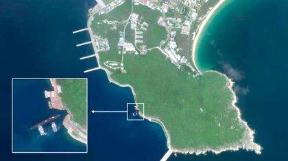 Una imagen ampliada de la Isla de Hainan, en el Mar Meriodional de China (Planet Labs/CNN)