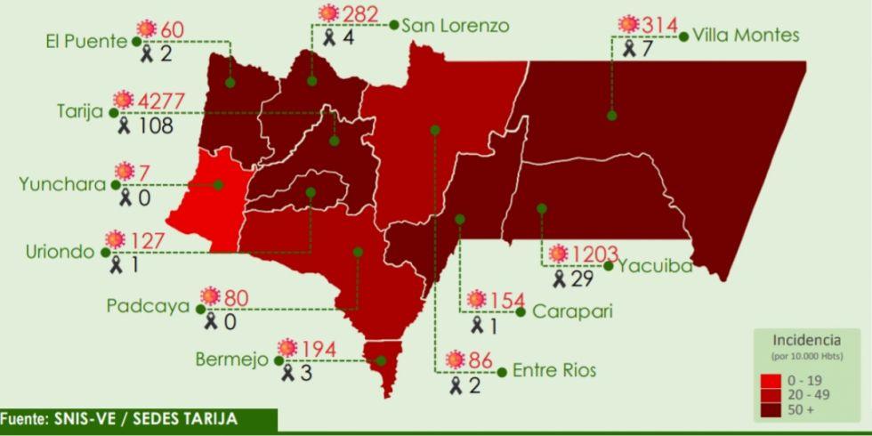 Tarija registra un repunte de casos Covid en 10 municipios