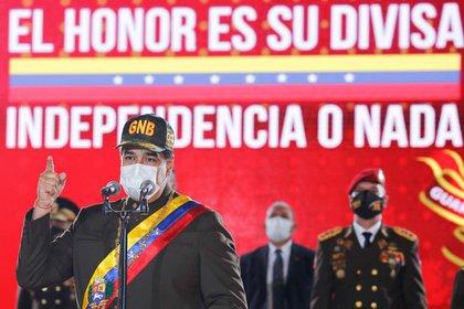 Nicolás Maduro, durante la ceremonia de aniversario de la Guardia Nacional Bolivariana en Caracas, Venezuela. 4 agosto 2020