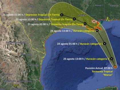 Trayectoria de la tormenta tropical Marco (Foto: SMN/Conagua Clima)