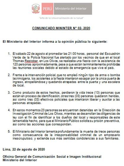 Comunicado del Ministerio del Interior