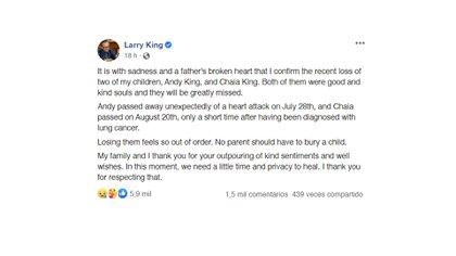 El comunicado de Larry King