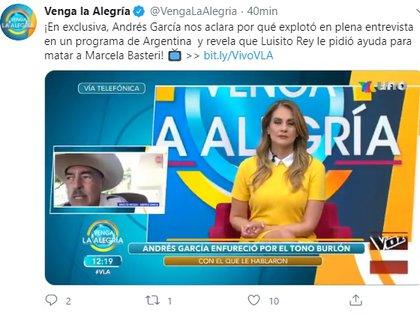 """Andrés García contó a """"Venga la alegría"""" que advirtió a Luis Miguel sobre las intenciones de Luisito Rey con Marcela Basteri"""