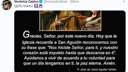 Tuit de Veronica Castro. (Foto: Twitter)