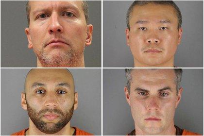 Derek Chauvin, Tou Thao, Thomas Lane y J. Alexander Kueng, los cuatro ex policías implicados en la muerte de George Floyd (REUTERS)