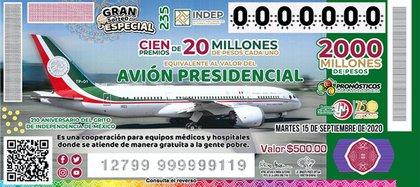 Avion presidencial (Foto:Lotería Nacional)