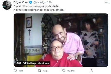 Vivar usó su cuenta de Twitter para compartir el último momento que vivió al lado del creador del Chavo del 8 y el Chapulín Colorado. (Foto: Twitter de Edgar Vivar)