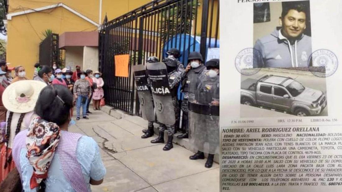 Fotografías de familiares del arquitecto exigiendo justicia y el afiche que reporta su desaparición. Noé Portugal-Policía