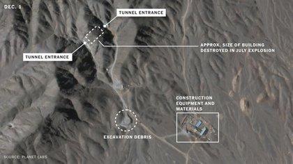 Los túneles de entrada y los restos de excavación en una zona que sería más grande que el complejo que explotó meses atrás (Planet Labs)