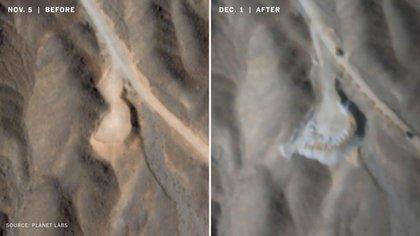 La comparación del terreno entre inicios de noviembre y de diciembre (Planet Labs)