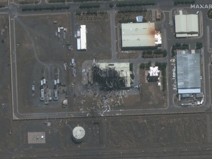 El centro destruido, en imagen del 8 de julio (Maxar)
