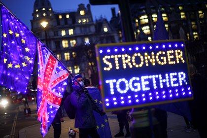 Un manifestante anti-Brexit protestando fuera de la cámara de los representantes, en Londres. REUTERS/Henry Nicholls