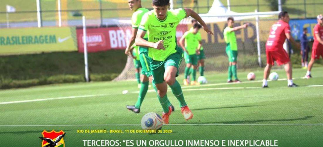 Miguel Terceros, joven volante de 16 años que juega en el Santos de Brasil. Foto: FBF